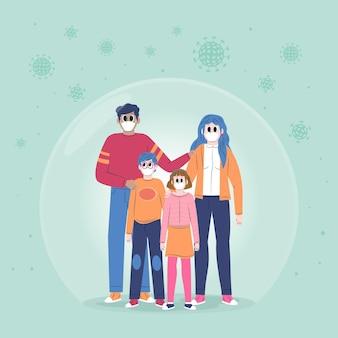 Familie vor dem abgebildeten virus geschützt