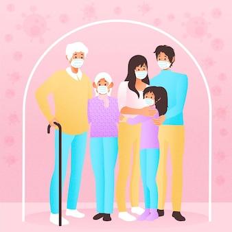 Familie vor dem viruskonzept geschützt