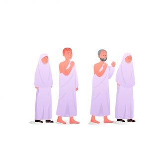 Familie während des hajj-tragens von ihram