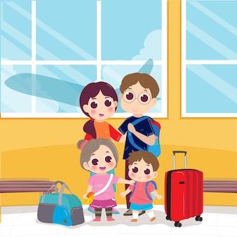 Familie wartet am flughafen