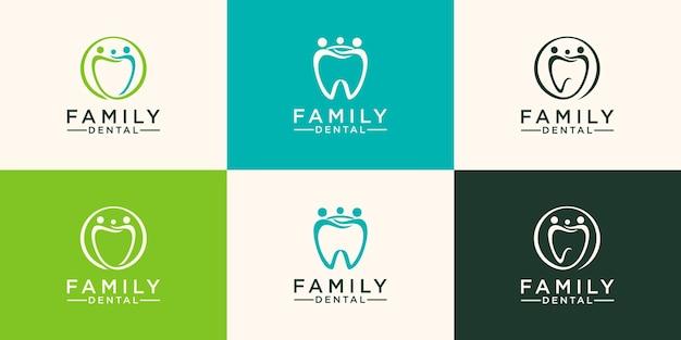 Familie zahnmedizinisches logo zahn abstrakte design-vektor-vorlage linearer stil.