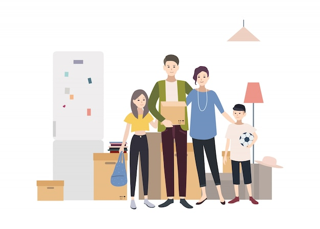 Familie zieht in ein neues haus mit dingen. karikaturillustration im flachen stil.