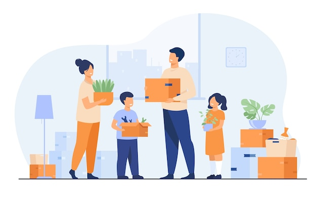Familie zieht in neues haus um. glücklicher karikaturmann, frau, junge, mädchen, die kisten in wohnung tragen. vektorillustration für neues haus, lieferservicekonzept