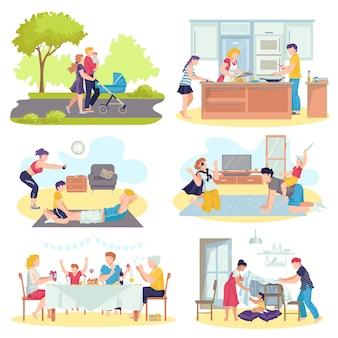 Familie zusammen mit kinderkonzeptsatz der illustrationen. vater und mutter spielen mit kindern im wohnzimmer, gehen spazieren, kochen, verbringen zeit miteinander. glückliche eltern und kinder.