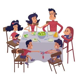 Familie zusammen mit mahlzeit flache karikaturillustration. mama und papa mit kindern am tisch.