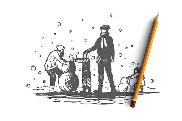 Familie, zusammengehörigkeit, winter, weihnachtsglückskonzept. eltern und zwei kinder bauen einen schneemann. hand gezeichnete skizzenillustration