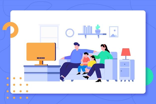 Familien-aufpassender film zusammen in der wohnzimmer-design-illustration