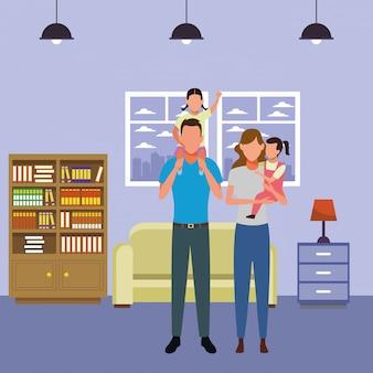 Familien-avatar-zeichentrickfigur