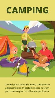 Familien-camping-banner, vater-sohn-tochter im lager