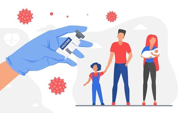 Familien-coronavirus-impfschutz-arzthand, die medizinische flasche des impfstoffs hält