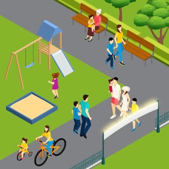 Familien, die im sommer im park spazieren gehen