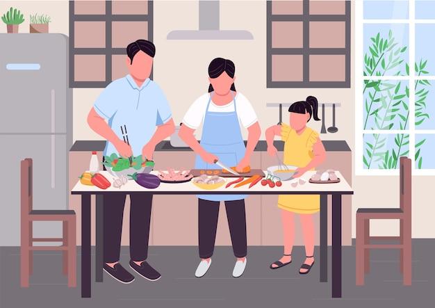 Familien, die zusammen flache farbillustration kochen