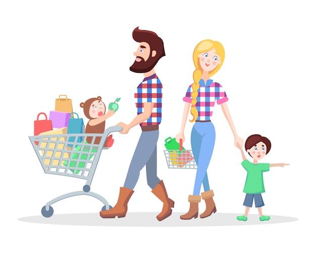 Familien-einkaufs-karikatur-flaches vektor-konzept