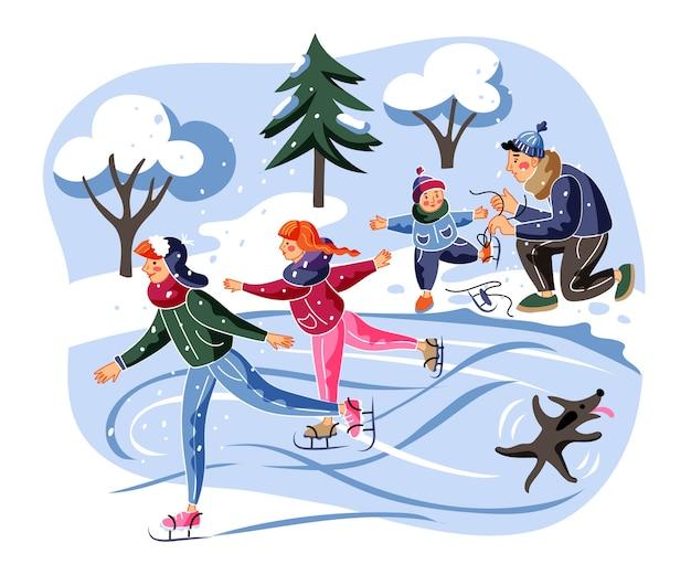 Familien-eislaufillustration, erwachsene, kinder und hund auf eisbahn-zeichentrickfiguren