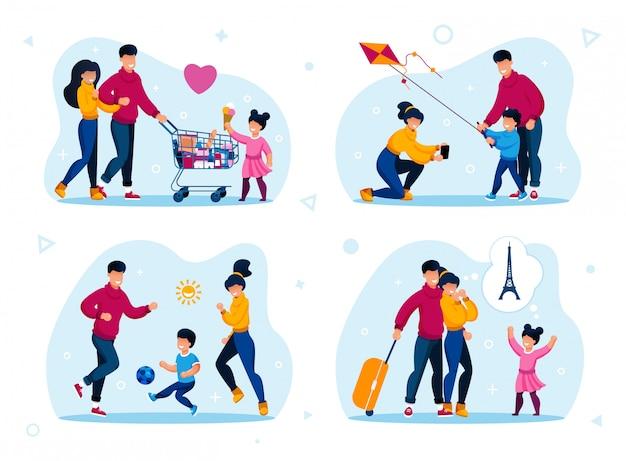 Familien-glücklicher zeit-erholungs-ebenen-satz
