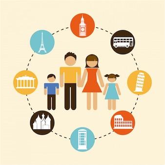 Familien-grafikdesign-vektorillustration