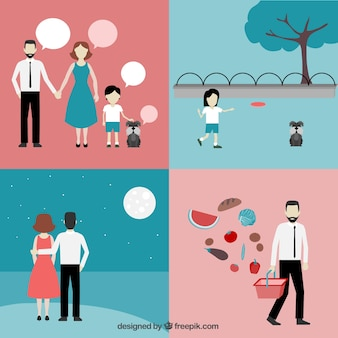 Familien-ikonen-konzept Kostenlosen Vektoren