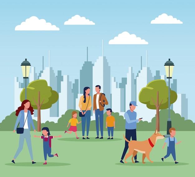 Familien im park