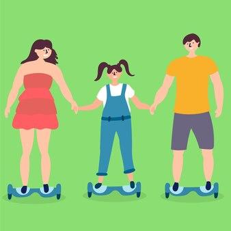 Familien-kind-fahrt mit dem hoverboard