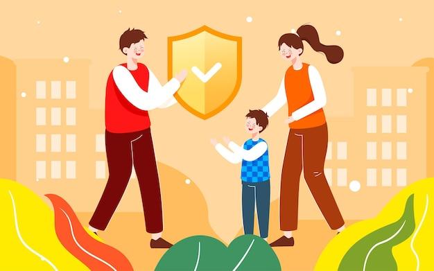 Familien-krankenversicherungs-abbildung familien-wachmann-garantie-plakat
