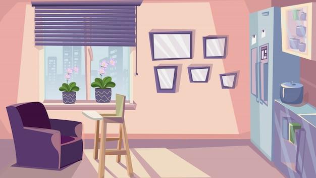 Familien-küchen-innenarchitektur-raum-möbel