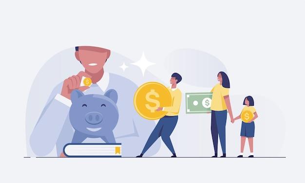 Familien mit kindern sparen geld. sparschwein mit familiengeldverdienen-konzept. vektor-illustration