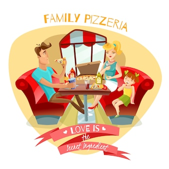 Familien-pizzeria-vektor-illustration