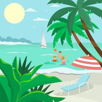 Familien-seestrandurlaub, freundschaftlicher charaktervatermutter und -kind spielen ball ozean flache vektorillustration. tropische ruhe sandiges meer.