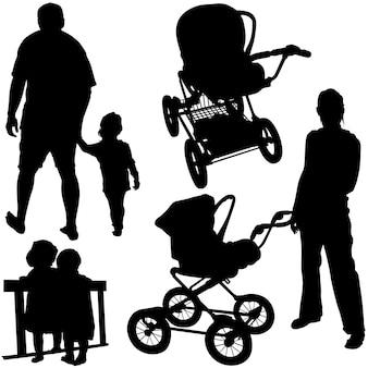 Familien-silhouetten