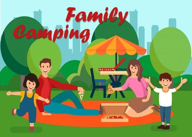 Familien-sommer-kampierende flache vektor-illustration
