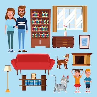 Familien- und heimkarikaturen