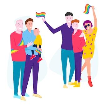 Familien und paar feiern stolz tag design