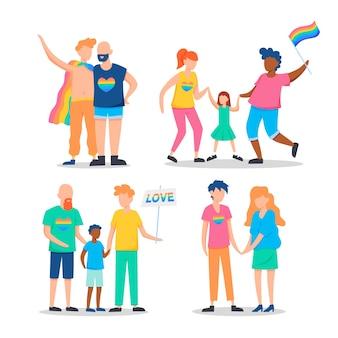 Familien und paar feiern stolz tag illustriert