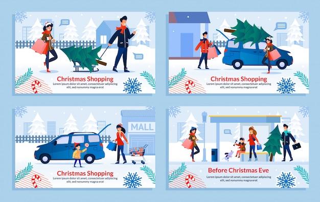 Familien-weihnachtseinkaufs-und feiertags-vorbereitungs-satz