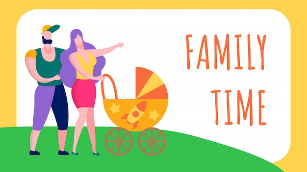 Familien-zeit-text-flache karikaturillustration