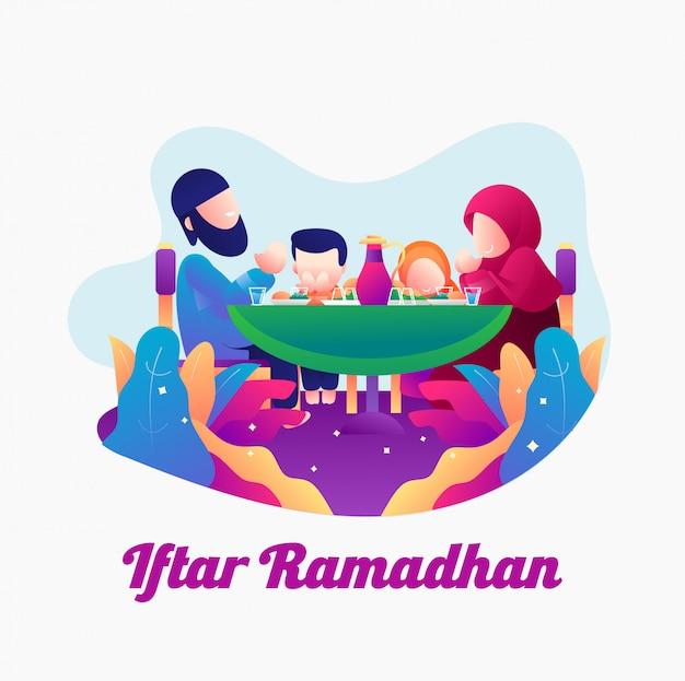 Familienabendessenillustration ramadhan