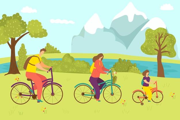 Familienaktivität mit fahrrad vektorillustration mann frau kind charakter fahrt fahrrad sport lebensstil a...