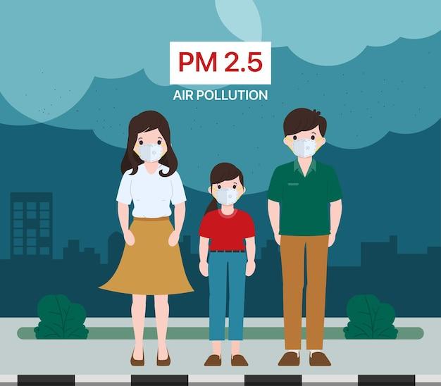 Familienangehörige, die im freien eine schützende gesichtsmaske tragen. vektorillustration der luftverschmutzungskonzepte.