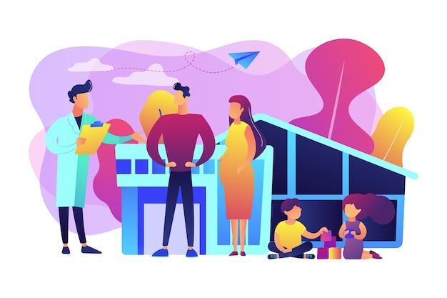 Familienarzt mit ehemann, schwangerer frau und spielenden kindern. hausarzt, medizinische familienpraxis, konzept der medizinischen grundversorgung. helle lebendige violette isolierte illustration