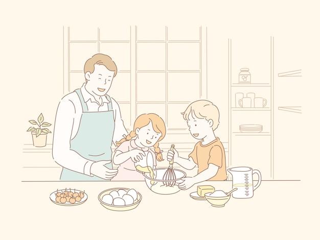 Familienbacken zusammen in der küche in der linienartillustration