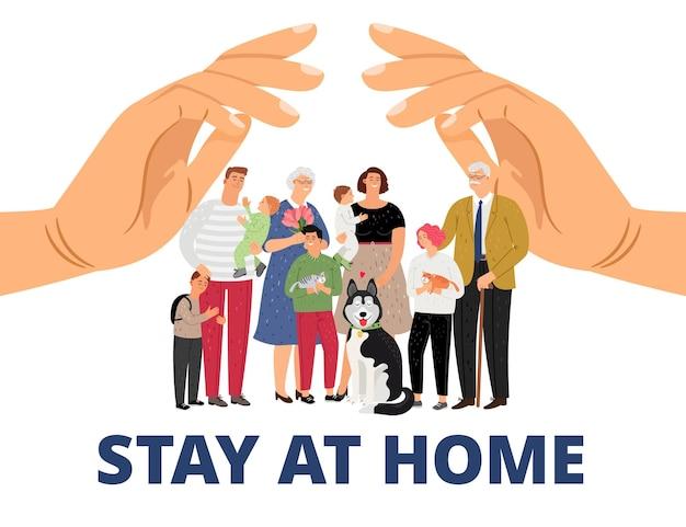 Familienbetreuung. bleiben sie zu hause, pandemie oder epidemie konzept.