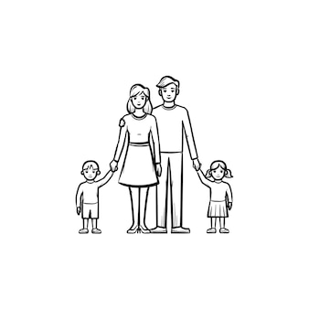 Familienbeziehung handgezeichnetes umriss-doodle-symbol