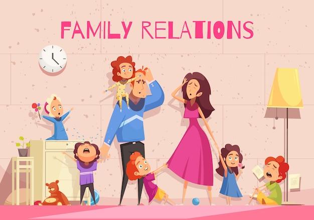 Familienbeziehungskarikatur, die emotion der niedergeschlagenen eltern zeigt, die der kinderlärmvektorillustration müde sind