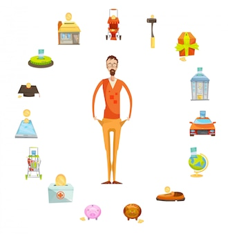 Familienbudgetzusammenstellung des männlichen charakters in voller länge mit leeren taschen, umgeben von wertvollem th