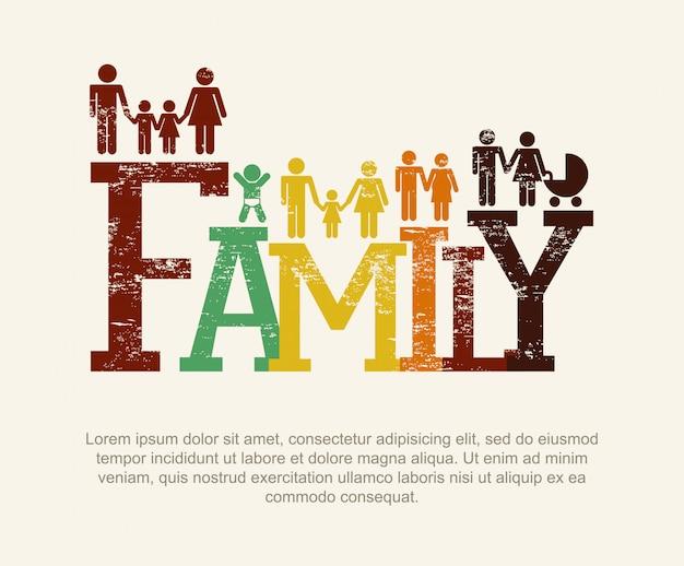 Familiendesign über beige hintergrundvektorillustration
