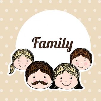 Familiendesign über punktierter hintergrundvektorillustration