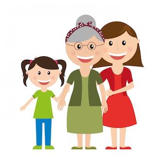 Familiendesign über weißer hintergrundvektorillustration