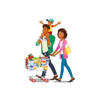 Familieneinkaufen im lebensmittelgeschäft-karikatur-vektor