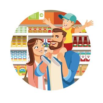 Familieneinkaufen in der lebensmittelgeschäft-karikatur-vektor-ikone