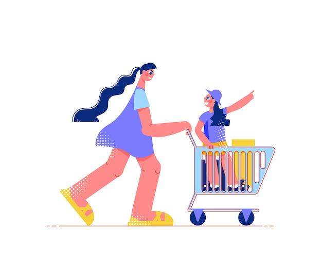 Familieneinkaufsflache zusammensetzung mit frau, die trolley-wagen mit kind nach innen zieht